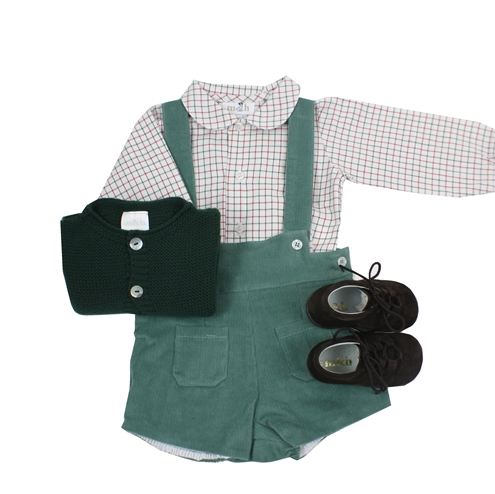 Green corduroy short with braces look