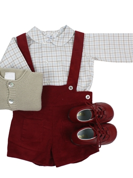 Burgundy corduroy short with braces look