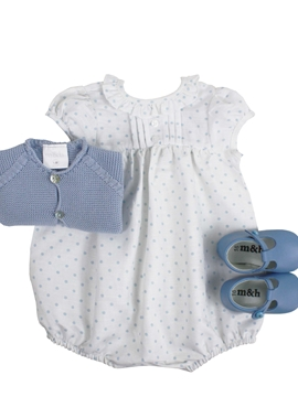 Baby romper look. Blue polka dots pattern