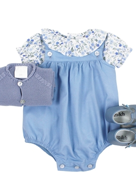 Medium blue romper look