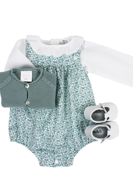 Baby romper look. Green and blue flower