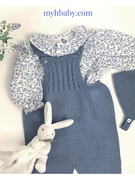 Baby medium blue knit romper look