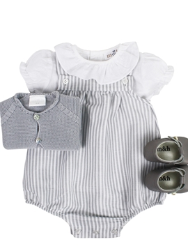 Grey stripes romper look