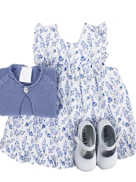 Clara dress look. Blue jacinto pattern