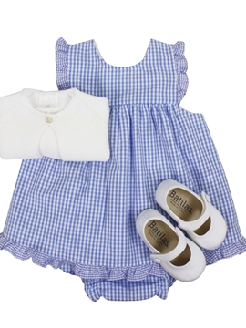 Clara dress look. Blue vichy pattern