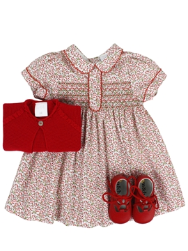 Elisa dress look. Red and green pattern