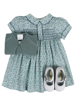 Elisa dress look. Green and blue pattern
