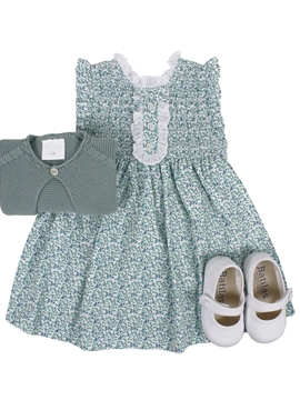 Irene dress look. Green and blue pattern