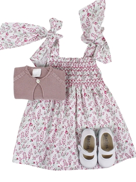 Loops dress look. Pink jacinto pattern