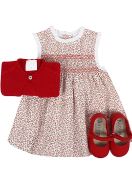 Marta dress look. Red and green pattern