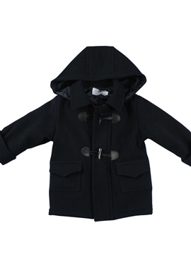 Navy blue duffle coat with hood