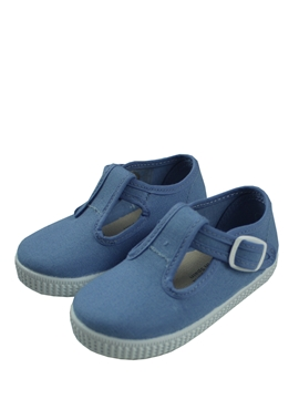 T bar blue canvas shoes