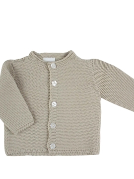 Long knitted baby cardigan in beige