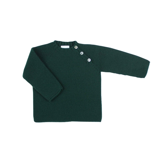 Thick knit buttons sweater in dark green