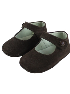 Mary Jane brown suede pram shoes