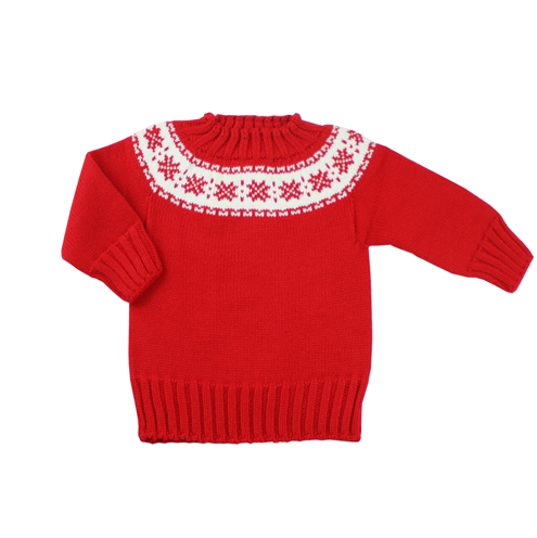 Red knitted sweater with fretwork.