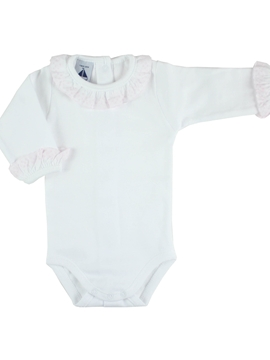 long sleeve bodysuit baby with batiste collar pink by Babidù