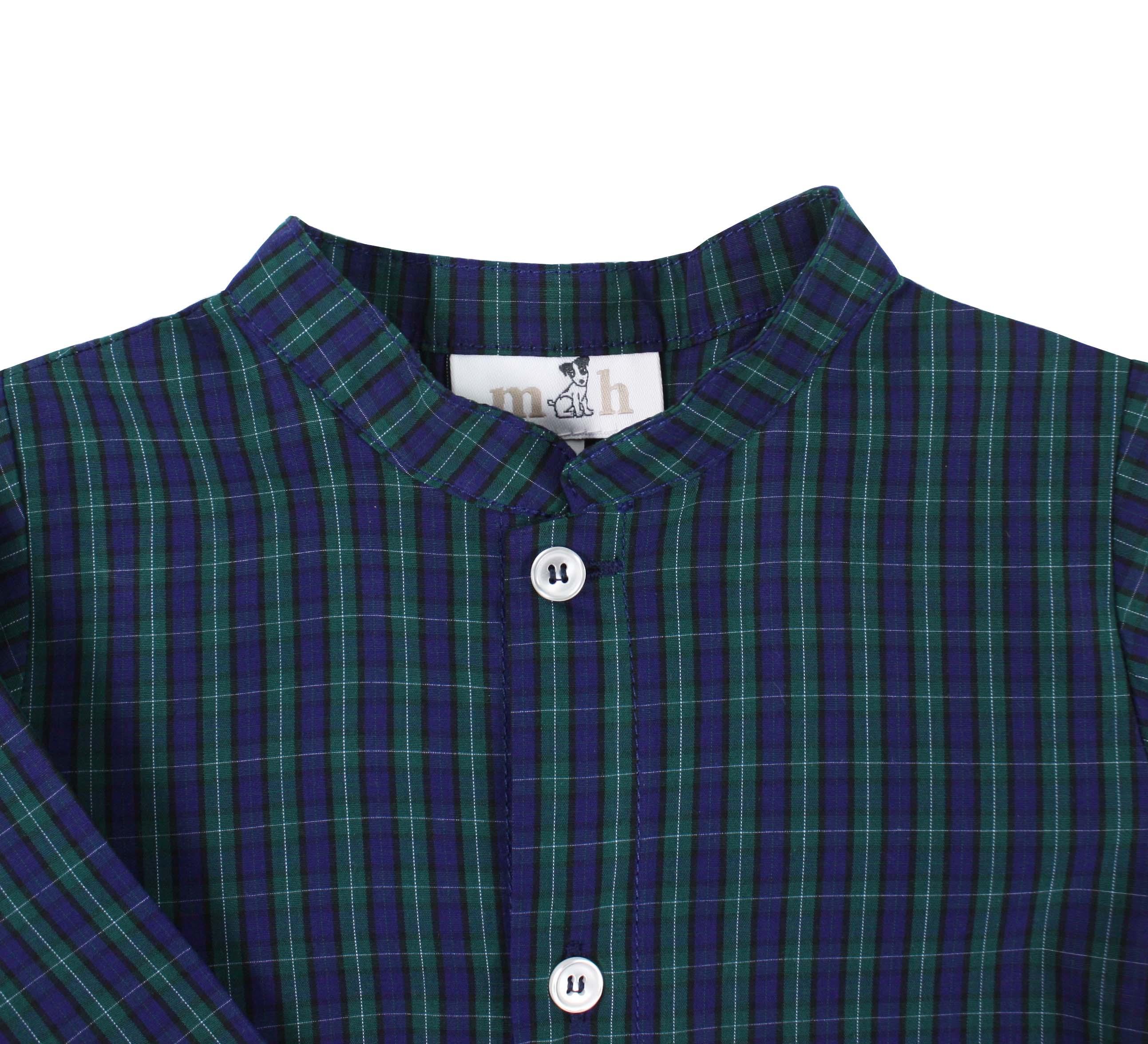 e5e3f772f Camisa manga larga cuadros verde y azul cuello mao