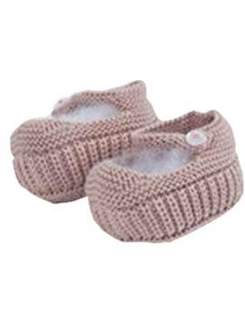 Pastel pink Mary Jane baby knit shoes