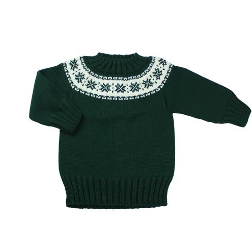 Dark green knitted sweater with fretwork.
