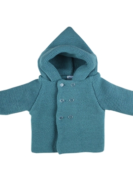 Green hooded cable-knit baby cardigan
