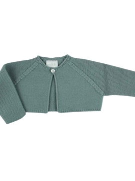Aquarelle green knit short baby cardigan m&h