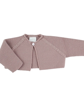 Pastel pink thick knitted short baby cardigan