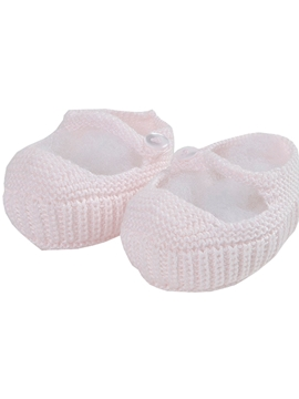 Pink Mary Jane baby knit shoes