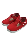 Canvas shoes red T bar