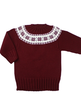 Burgundy knitted sweater with fretwork