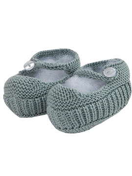 Aquarelle green Mary Jane baby knit shoes