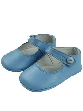 Baby blue girl leather shoes