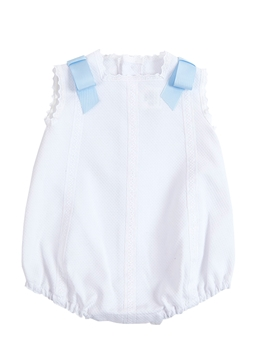 Piqué fabric romper with blue bows