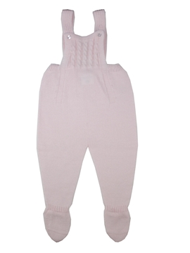 Pink knit baby dungaree with braces m&h