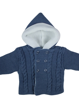 Medium blue hooded cable-knit baby cardigan
