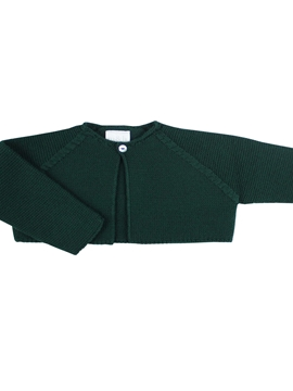 Dark green knitted short baby cardigan m&h