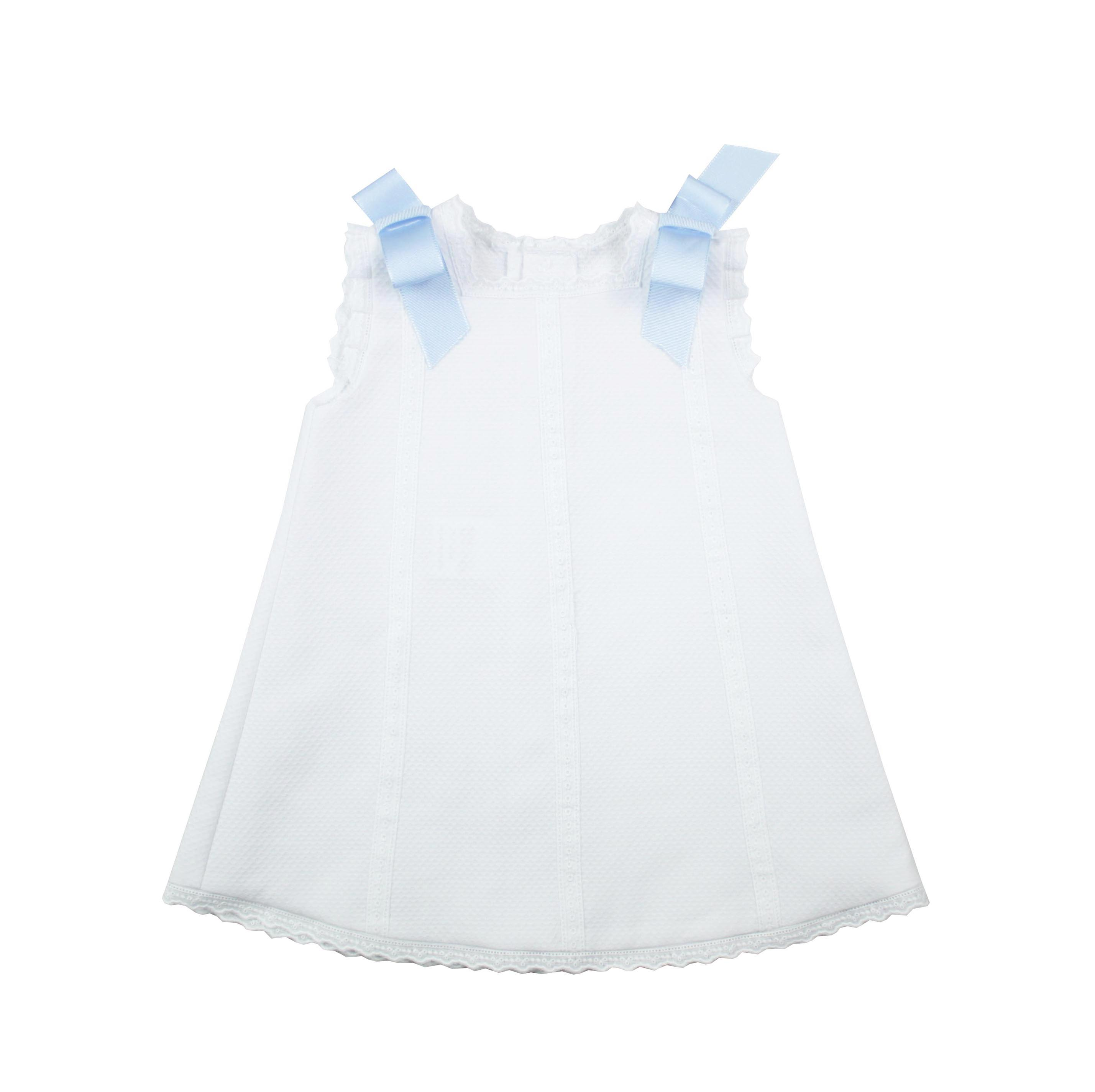 Baby S Dress In White Pique Fabric And Blue Bows Made In Spain By