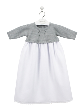 One piece knit piqué and baby dress in grey