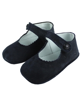 Mary Jane navy blue suede pram shoes
