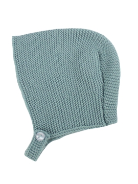 Aquarelle green baby knitted bonnet m&h