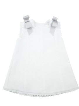 Baby's Dress in white piqué fabric and grey bows