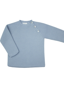 Blue sweater buttons thick knit