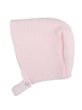 Pink baby knitted bonnet m&h