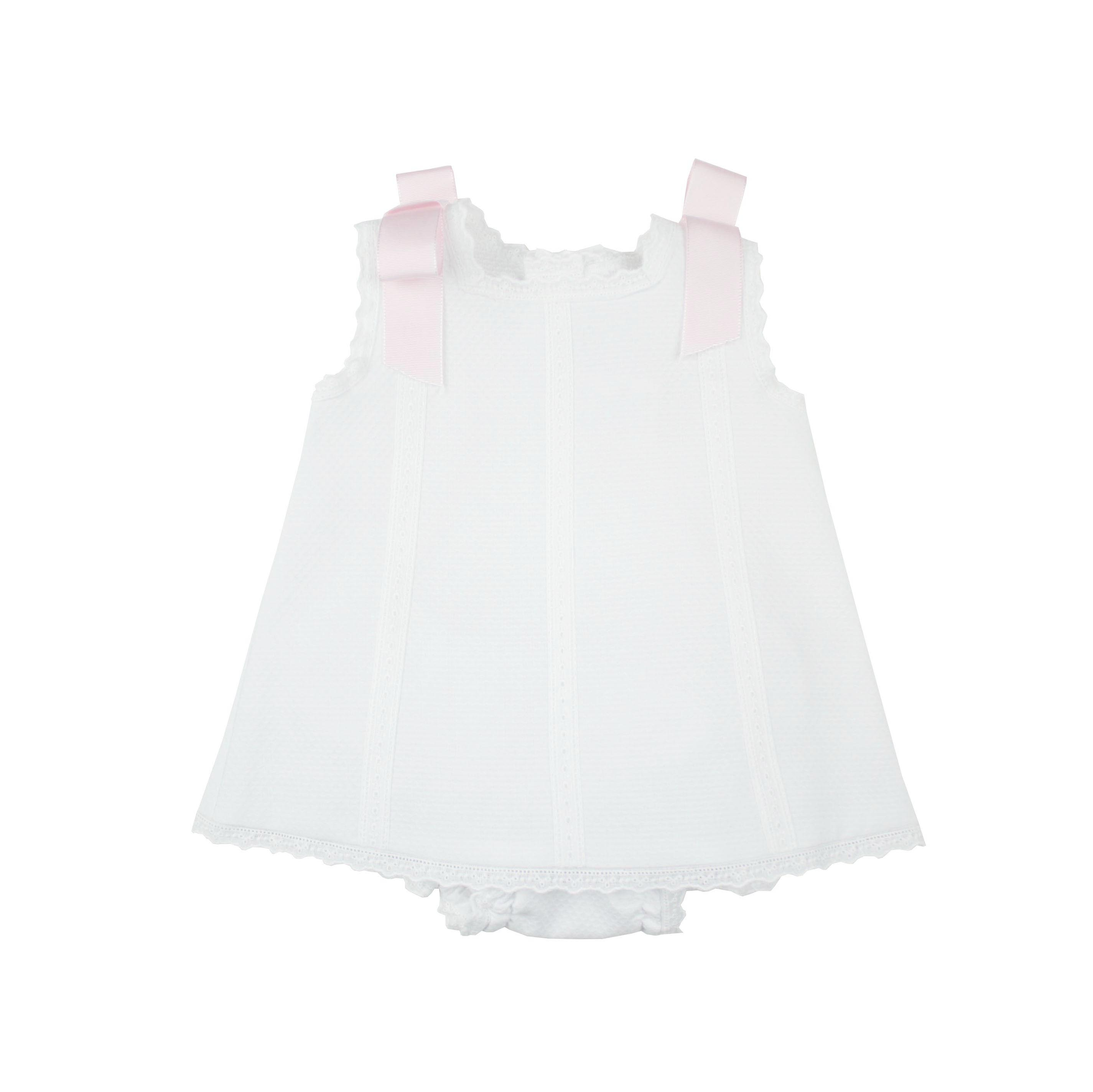 Baby s Dress in white piqué fabric and pink bows
