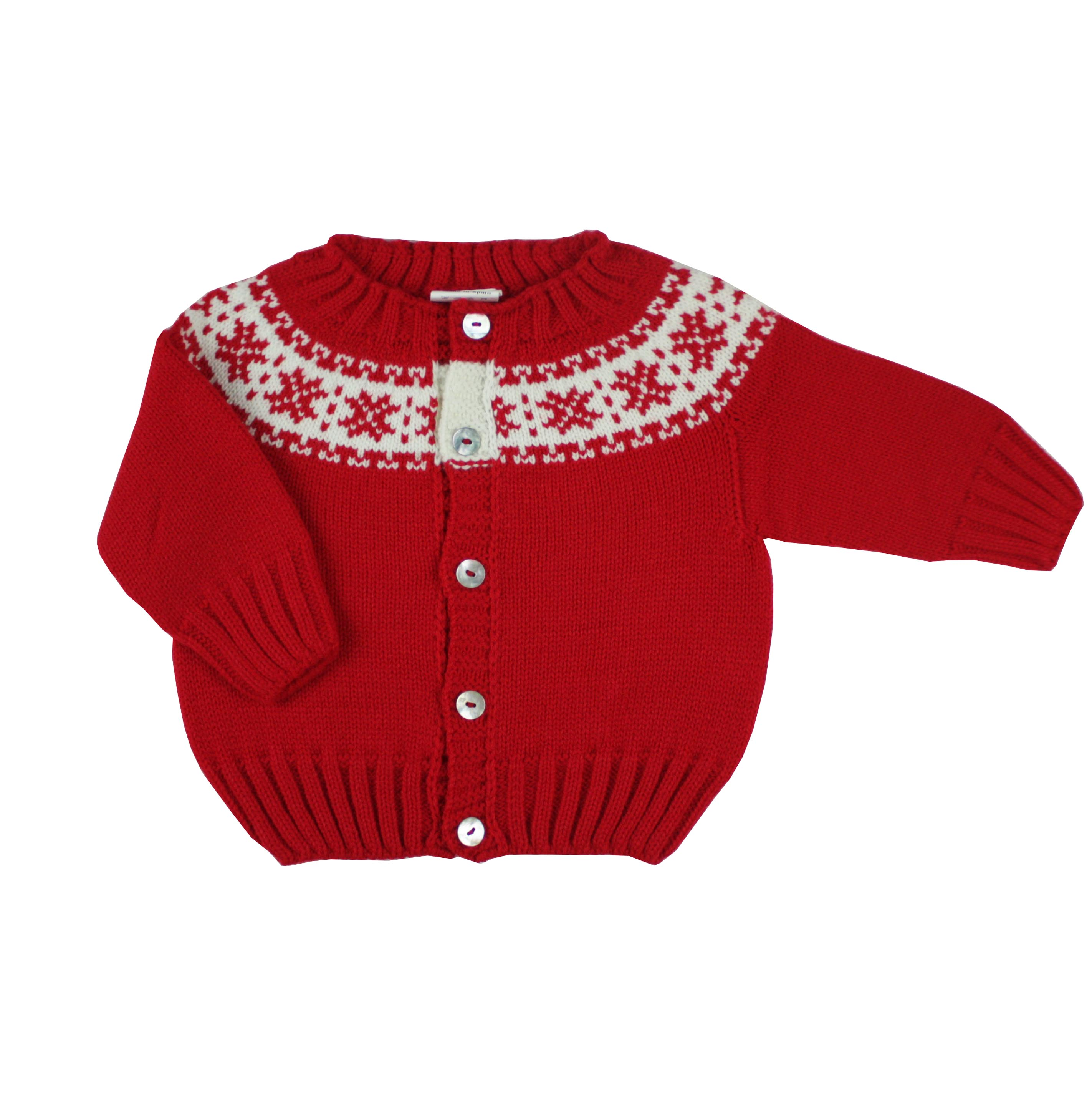 7b0eaf5deea9 Red knitted cardigan with fretwork.Made in Spain by m h