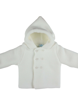 white hooded cable-knit baby cardigan