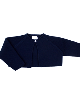 Navy blue thick knit short cardigan m&h