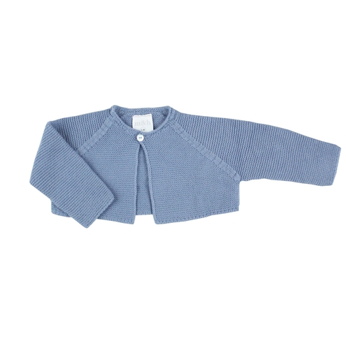Medium blue thick knitted short baby cardigan m&h