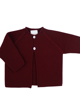 Burgundy long baby cardigan.