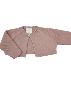 Pastel pink thick knit baby cardigan